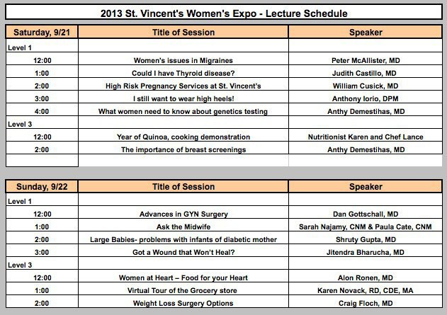 CT Womens Expo Lecture Schedule